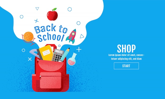 Powrót do szkoły sprzedaży baner Premium Wektorów