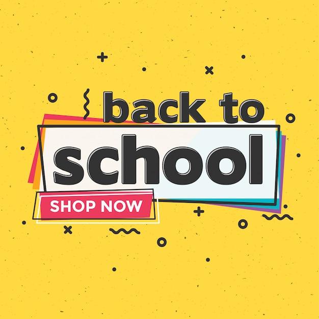 Powrót do szkoły szablon projektu sprzedaży typograficznej Premium Wektorów