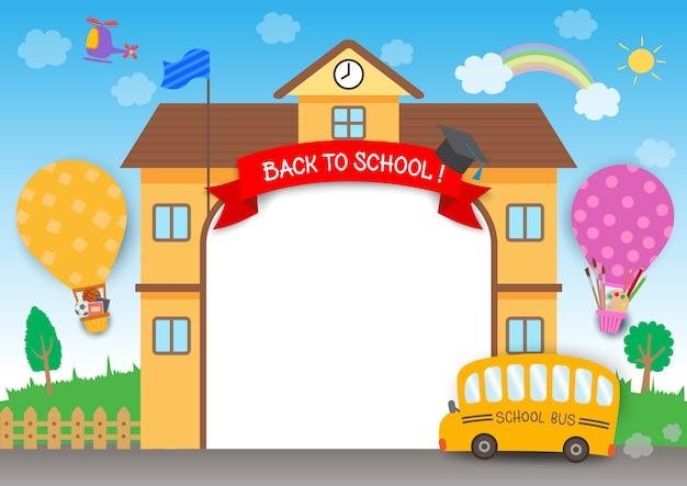 Powrót do szkoły tęczy Premium Wektorów