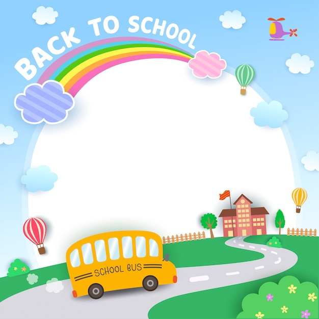 Powrót do szkoły tle ilustracji Premium Wektorów