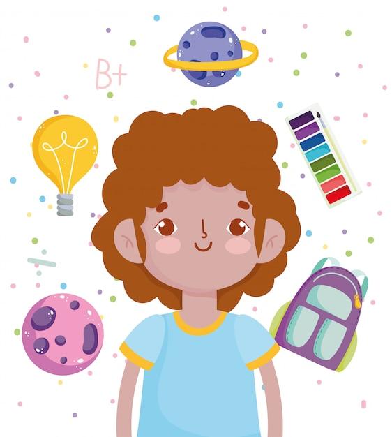 Powrót Do Szkoły, Uczeń Chłopiec Akwarela Paleta Plecak Edukacja Podstawowa Ilustracja Kreskówka Wektor Premium Wektorów