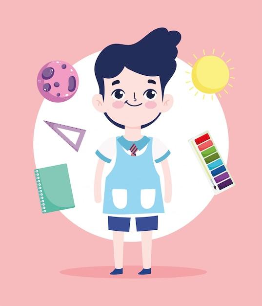Powrót Do Szkoły, Uczeń Władca Książki Paleta Kolorów Plecak Edukacja Podstawowa Ilustracja Kreskówka Wektor Premium Wektorów