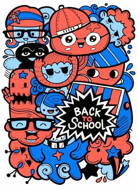Powrót do szkoły wektor znaków tła szablon z śmieszne maskotki kreskówka edukacji. ilustracji wektorowych Premium Wektorów