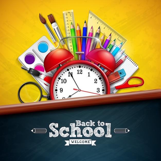Powrót do szkoły z budzikiem i kolorowym ołówkiem na żółtym Premium Wektorów