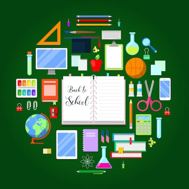 Powrót Do Szkoły Z Zestawem Ikon Edukacji. Premium Wektorów