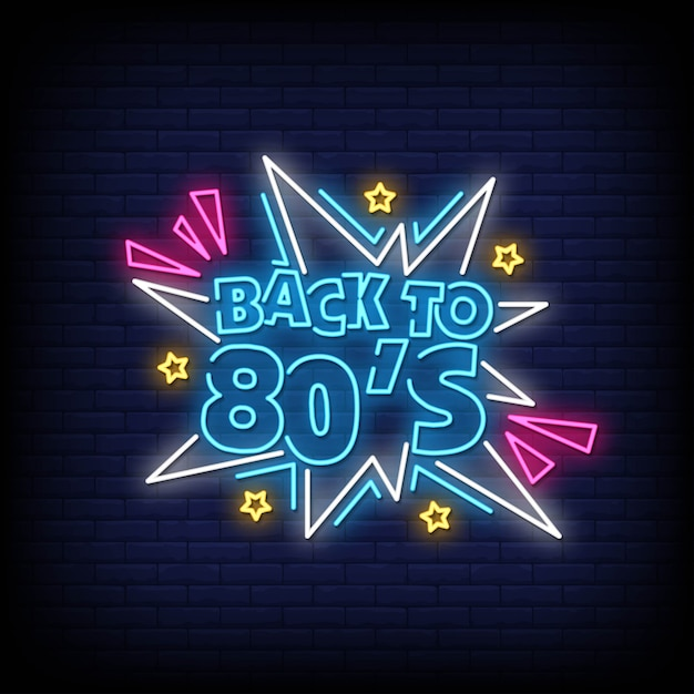 Powrót do tekstu w stylu lat 80-tych Premium Wektorów