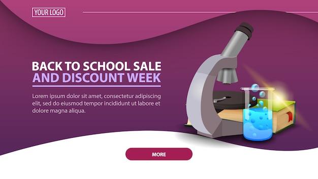 Powrót do tygodnia szkolnego i zniżkowego, nowoczesny baner internetowy ze zniżkami na stronę z mikroskopem Premium Wektorów