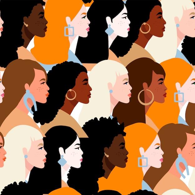 Powstrzymaj Rasizm. Jesteśmy Równi. Pojęcie Na Temat Rasizmu. Protestujący Ludzie. Premium Wektorów