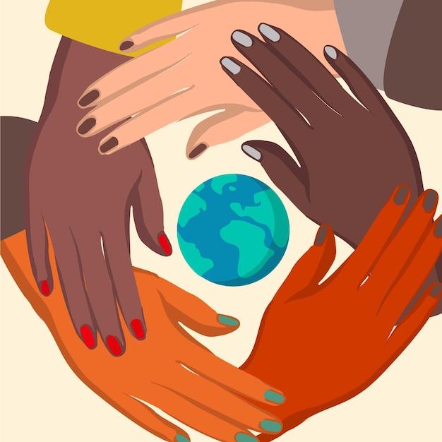 Powstrzymaj Rasizm Rękami I Planetą Darmowych Wektorów