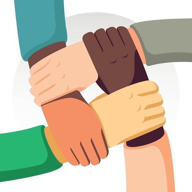 Powstrzymaj Rasizm Rękami Darmowych Wektorów