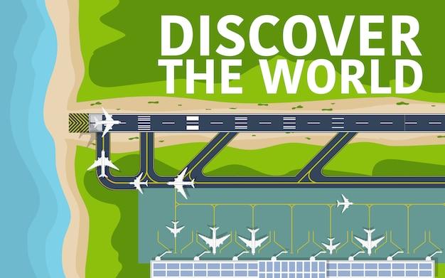 Powyżej Widok Z Góry Na Pas Startowy Lotniska Premium Wektorów