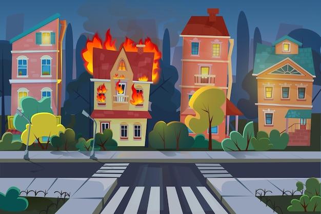 Pożar W Budynku Miejskim, Panorama Salonu Z Płonącymi Apartamentami W Nocy Premium Wektorów