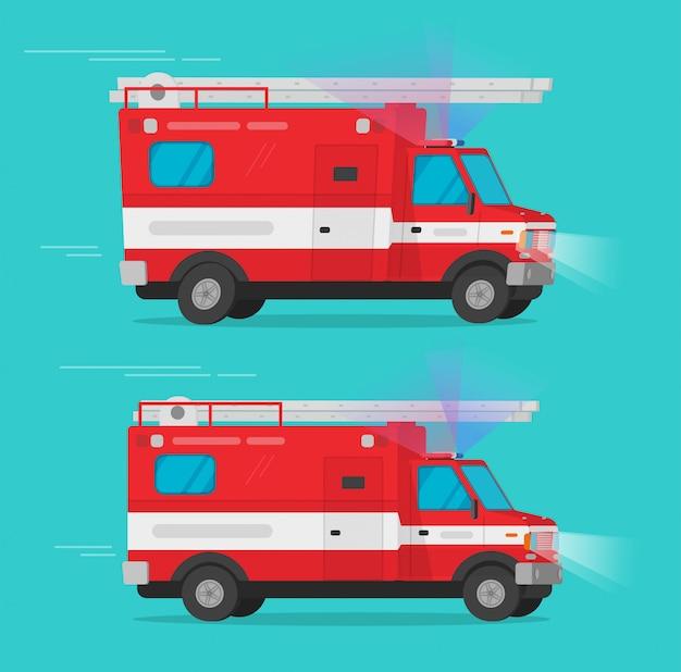 Pożarniczych Ratowniczych Pojazdów Ratunkowych Lub Wozu Strażackiego Samochodu Dostawczego Wektorowy Ilustracyjny Płaski Kreskówki Clipart Premium Wektorów
