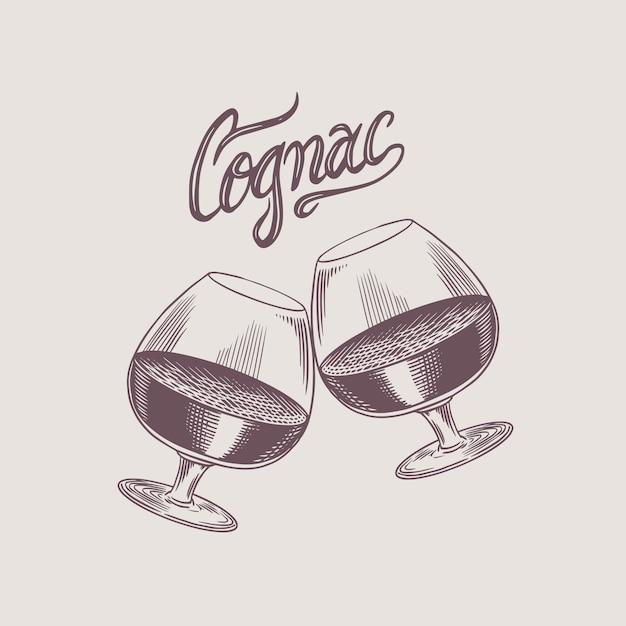 Pozdrawiam Toast. Odznaka Vintage American Cognac Lub Likier. Etykieta Alkoholu Na Baner Na Plakat. Szkło Z Mocnym Napojem. Ręcznie Rysowane Grawerowany Napis Szkicu Na T-shirt. Premium Wektorów