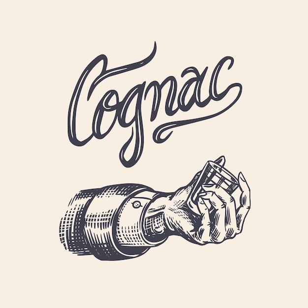 Pozdrawiam Toast. Odznaka Vintage American Cognac Lub Likier. Strzał W Rękę. Etykieta Alkoholu Na Baner Na Plakat. Szkło Z Mocnym Napojem. Narysowany Grawerowany Napis Szkicu Na T-shirt. Premium Wektorów