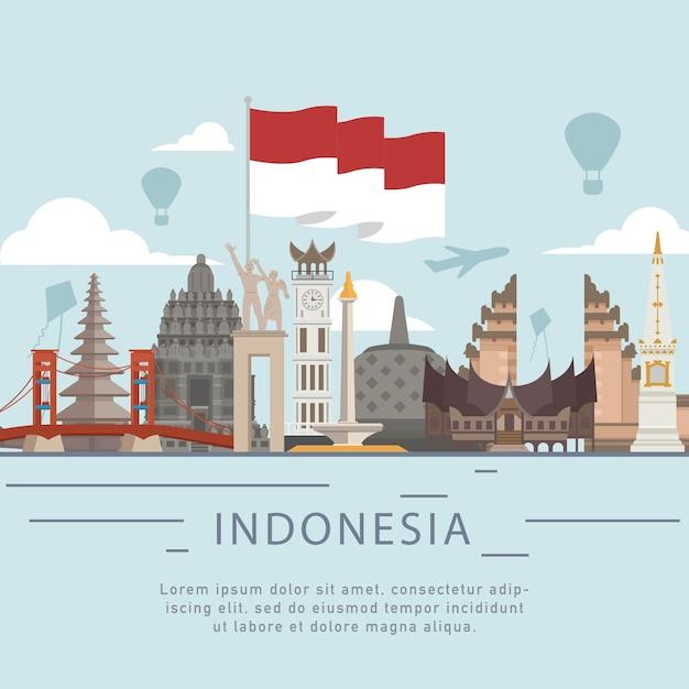 Pozdrowienia z indonezji dzień niepodległości w stylu płaski Premium Wektorów