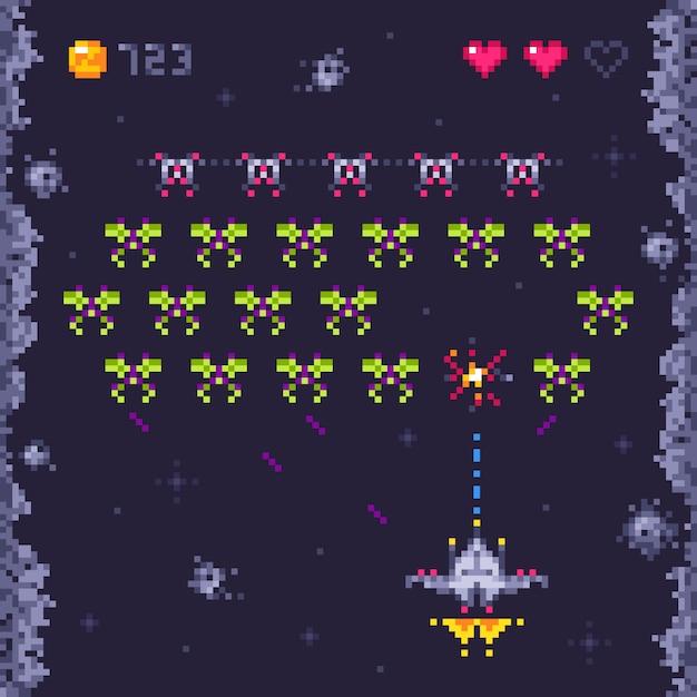 Poziom Gry Arcade Kosmicznej. Retro Najeźdźcy, Pikselowe Gry Wideo I Kosmiczna Gra Najeźdźców Premium Wektorów