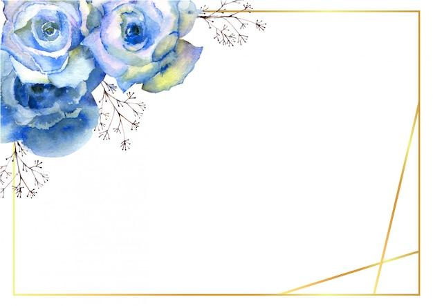 Pozioma Rama Z Niebieskimi Kwiatami Róży I Ozdobnymi Gałązkami W Złotej Ramie Na Białym Tle. Premium Wektorów