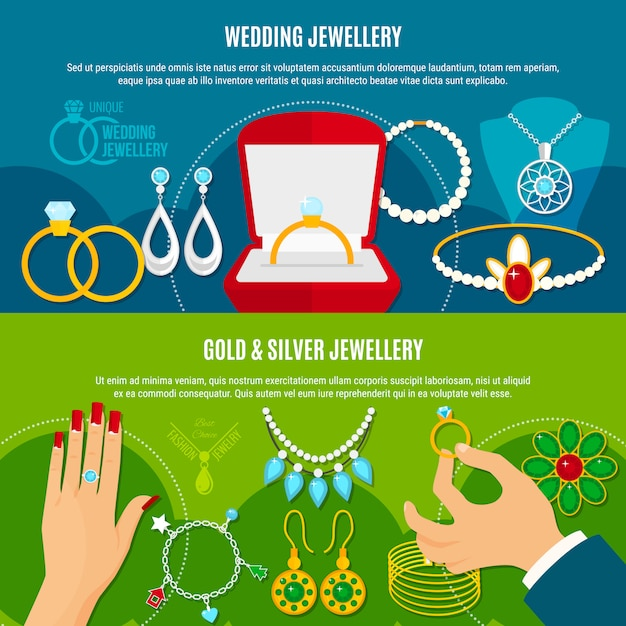 Poziome Banery Biżuterii ślubnej Darmowych Wektorów
