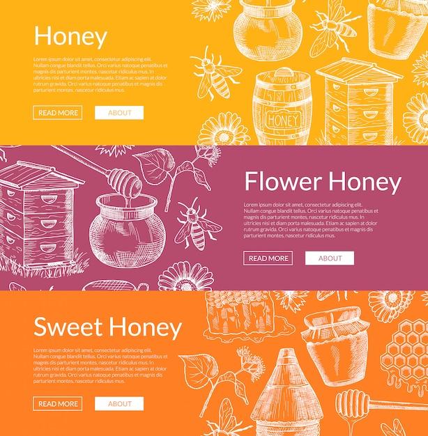 Poziome banery internetowe z ręcznie rysowane elementy miodu i miejsce na tekst Premium Wektorów