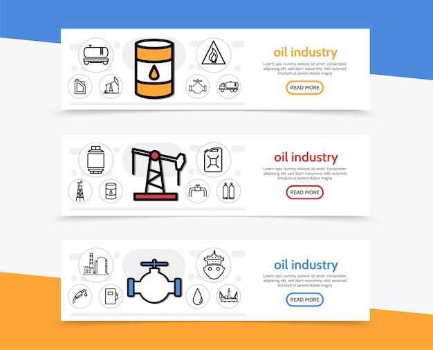 Poziome Banery Przemysłu Naftowego Darmowych Wektorów