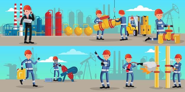 Poziome Banery Znaków Przemysłu Petrochemicznego Darmowych Wektorów