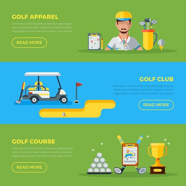 Poziome bannery golfowe Darmowych Wektorów