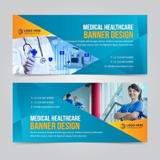 Poziome Biznes Web Banner Web Set Szablony Wektorowe Premium Wektorów