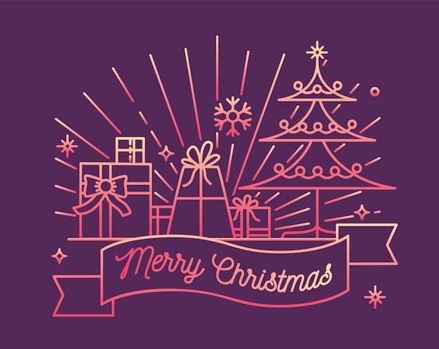 Poziome Kartki Z życzeniami Lub Szablon Pocztówki Z życzeniami Wesołych świąt Na Wstążce, Udekorowanym świerkiem I świątecznymi Prezentami Premium Wektorów
