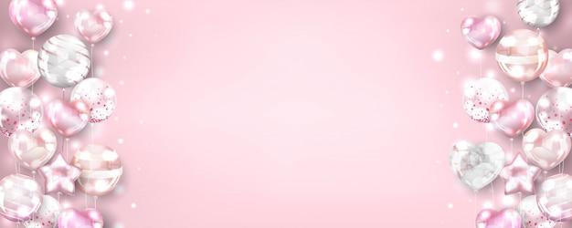 Poziome Różowe Balony Złote Tło Na Urodziny I Uroczystości Darmowych Wektorów