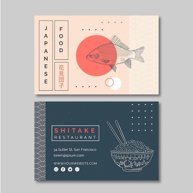 Poziome Wizytówki Szablon Dla Restauracji Japońskiej Premium Wektorów
