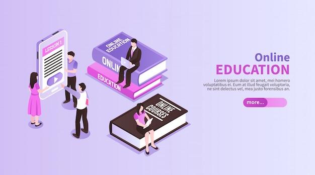 Poziomy Baner Edukacyjny Online Z Figurkami Małych Ludzi Siedzących Na Dużych Samouczkach Promujących Studia Na Odległość W Rzucie Izometrycznym Darmowych Wektorów