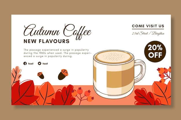 Poziomy Baner Kawiarni Premium Wektorów