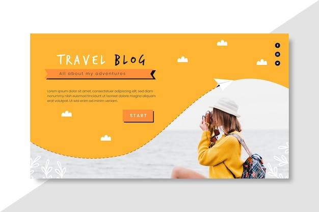 Poziomy Baner Podróży Na Blogu Darmowych Wektorów