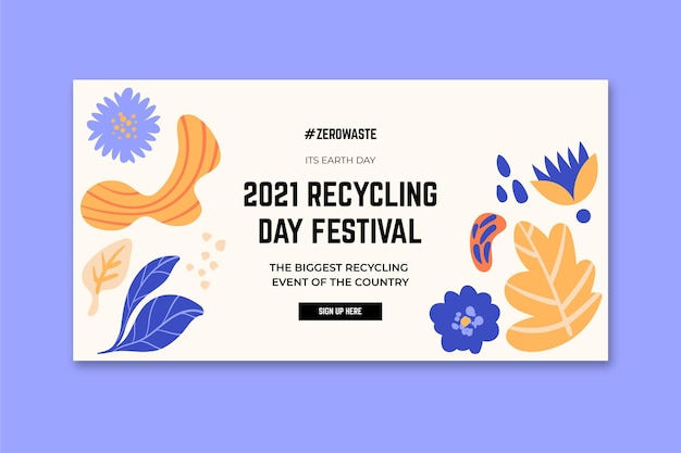 Poziomy Baner Szablon Na Festiwal Dzień Recyklingu Darmowych Wektorów