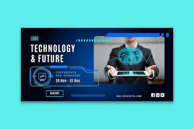 Poziomy Baner Szablon Z Futurystyczną Technologią Darmowych Wektorów