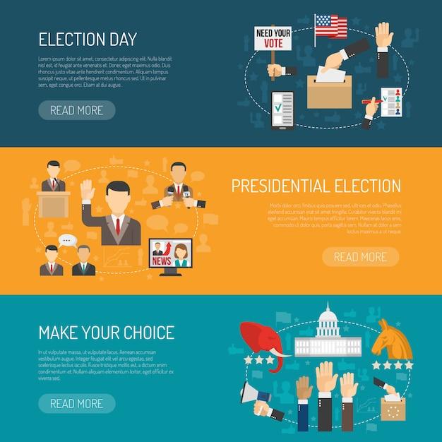 Poziomy baner wyborczy Darmowych Wektorów
