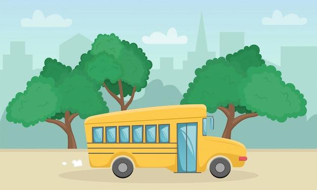 Poziomy Krajobraz Z żółtym Autobusem Szkolnym. Powrót Do Szkoły. Nowy Rok Akademicki. Premium Wektorów
