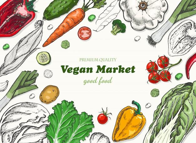 Poziomy tło z warzywami Premium Wektorów