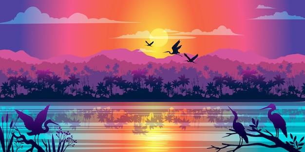 Poziomy Tropikalny Krajobraz Z Dżunglą, Rzeką, Mangrowym Odbiciem, Wschodem Słońca I Konturami Ptaków Premium Wektorów