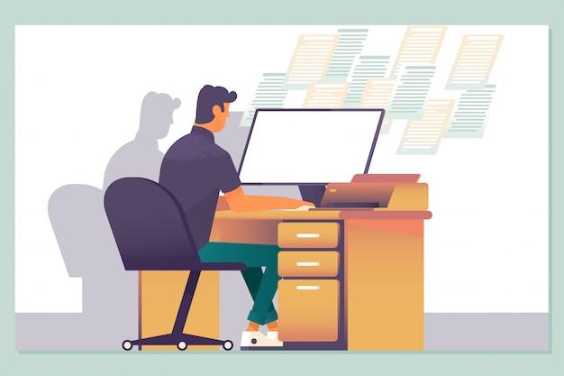 Późna praca, nadgodziny w pracy biurowej i noce pracowników komputerów Premium Wektorów