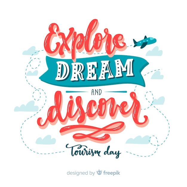 Poznaj marzenie i odkryj dzień turystyki Darmowych Wektorów