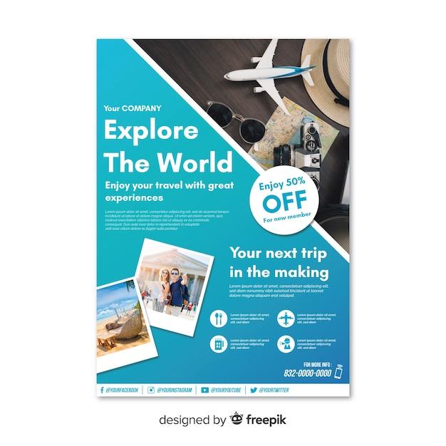 Poznaj światowy Plakat Podróżniczy Darmowych Wektorów