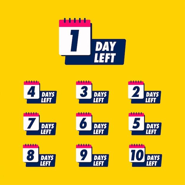 Pozostały Dni Z Plakietką Kalendarza Na Sprzedaż Lub Sprzedaż Detaliczną. Premium Wektorów