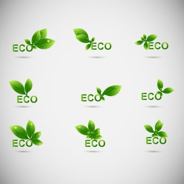Pozostawia Eco Logo Darmowych Wektorów