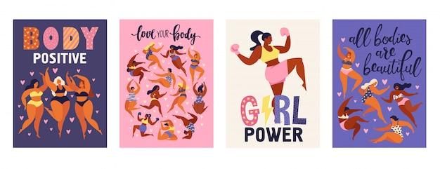 Pozytywne pionowe karty ciała feminizmu. Premium Wektorów