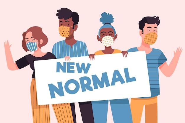 Pozytywni Ludzie W Obliczu Nowego Normalnego Sposobu życia Darmowych Wektorów