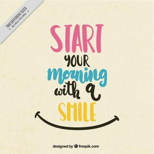 Pozytywny cytat na rozpoczęcie dnia rano Darmowych Wektorów