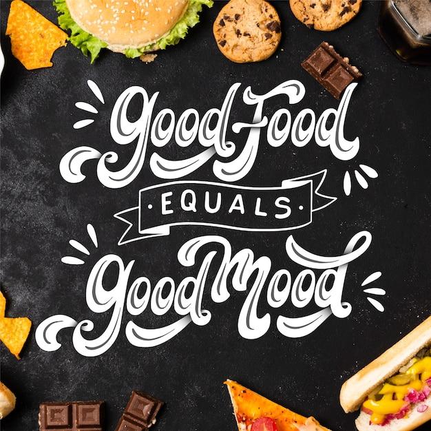 Pozytywny Napis Z Jedzeniem Darmowych Wektorów