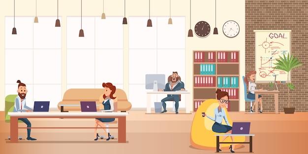Praca biurowa w nowoczesnym kreatywnym coworkingu Premium Wektorów